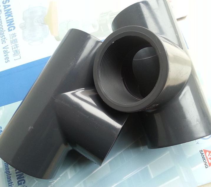 三厘SANKING UPVC管正三通 UPVC化工管塑料三通 内丝内牙三通 美标
