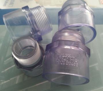 台湾三厘 UPVC透明外丝直接 SCH40 UPVC透明管件接头 外牙直接头